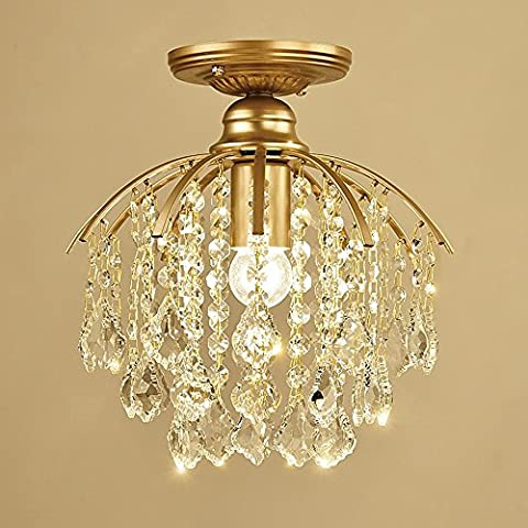 Maple Leaf Clear Crystal Ceiling Chandeliers Light Gold Modern Luxurious Flush Mount Ceiling Lights Iron Fixture for Kitchen Dining Living Room Bedroom Aisle Foyer,1*E27