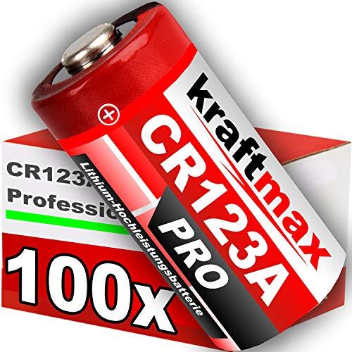 kraftmax 100er Pack CR123 / CR123A Lithium Hochleistungs- Batterie für professionelle Anwendungen - Neueste Generation Crv3 3v Lithium Batterie