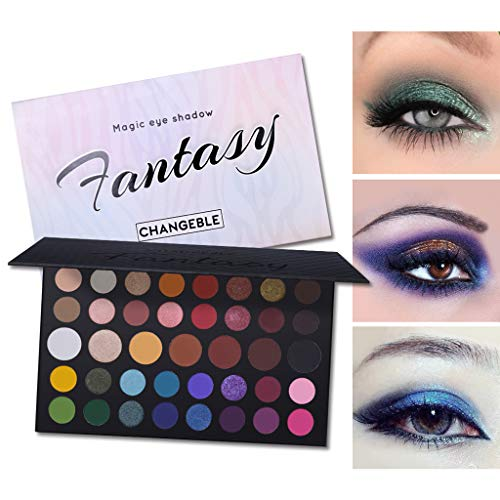 CHANGEBLE 39 Farbe Wasserdicht Farben Luxus Golden Nude Perle Matt Schimmer Smokey Eyeshadow Makeup Lidschattenpinsel Pulver Glitter Matt Naked Lidschatten-Palette Make-up (A)