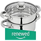 (Renewed) Amazon Brand - Solimo Stainless Steel Induction Bottom Steamer/Modak/Momo Maker with Glass Lid