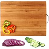Clytius Square Bamboo Wooden Cutting Board With Handle - Best Kitchen Chopping Board For Dicing, Slicing, Vegetables, Fruits & More - 100% Organic, Eco-Friendly Bamboo - LARGE - 40 X 30 X 1.8 Cms By Clytius