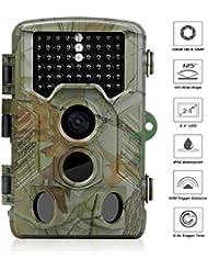 Wildkamera 1080P HD, WiMius Jagdkamera 12 MP 120° Breite, Trail Kamera 2,4 Zoll LCD, Wasserdicht IP56, Infrarot 20m Nachtsicht 46 IR-LEDs, Überwachungskamera für Wildbeobachtung, Spiel, zur Überwachung und zum Auskundschaften