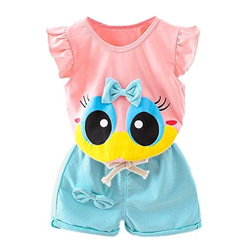 Blaward Baby Mädchen Sommer Kleidungs Outfits Baumwolle Shorts Cartoon große Augen niedlich Bogen Knoten Tops und kurze Hosen (Mädchen Kleidung Große)