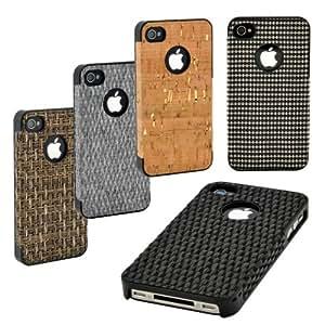 Schutzhülle case cover für Apple iPhone 4/4S, mit natürlichen Materialien von der Art Line black checker