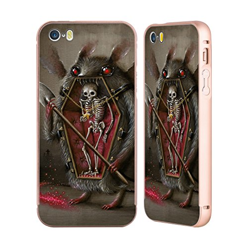 Ufficiale Jason Limon Luce Primodriale Teschio Oro Cover Contorno con Bumper in Alluminio per Apple iPhone 5 / 5s / SE Alitosi