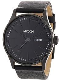 Nixon Sentry Leather - Reloj (Reloj de pulsera, Masculino, Acero inoxidable, Negro, Cuero, Negro)