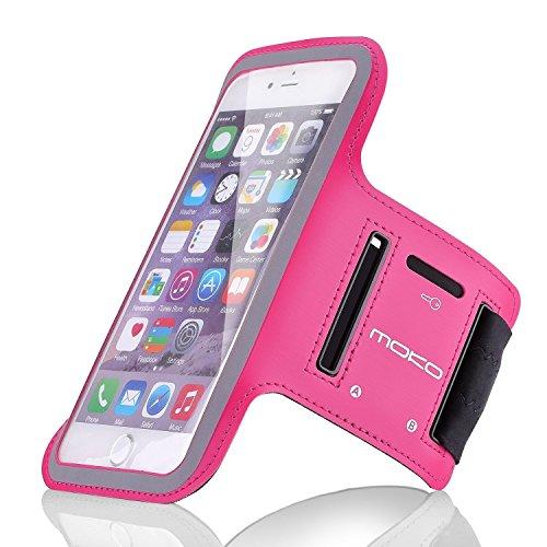 "MoKo iPhone 6S Plus Armband - Sweatproof Joggen Laufen Sport Armband Handy Hülle Schutzhülle Case + Schlüsselhalter Kopfhörer Anschluss für Apple iPhone 6 Plus / 6S Plus 5.5"", Smartphone, Schwarz Magenta"