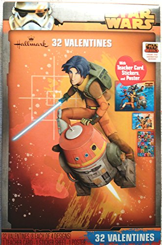 Disney Star Wars Rebels 32Valentines mit Aufkleber Lehrer Karte und Poster (Karten Star Wars Valentine)