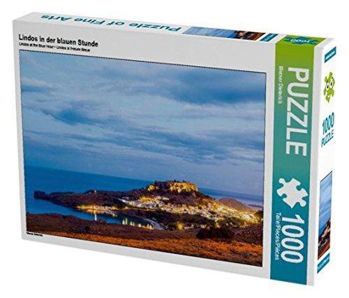 Preisvergleich Produktbild Lindos in der blauen Stunde 1000 Teile Puzzle quer (CALVENDO Orte)
