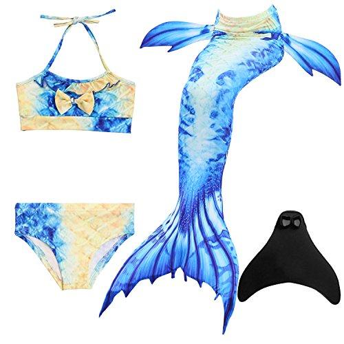 DOTOFIN Meerjungfrau Schwanzflosse für Kinder Mädchen Zum Schwimmen mit Meerjungfrau Flosse und Bikini (9-10 Jahre, Gelb Blau)