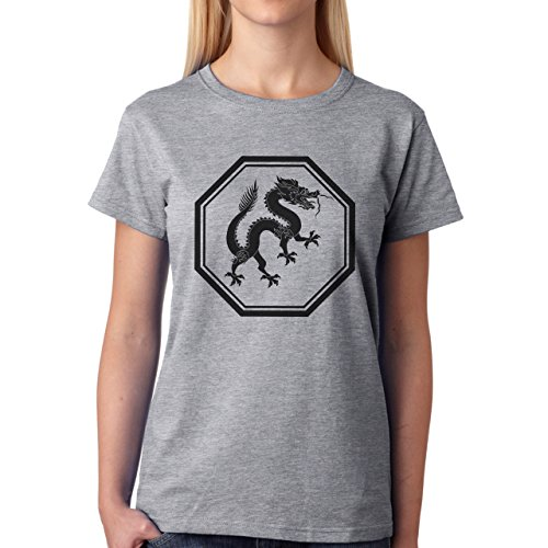 Dragon Chinese Black Happy Tail Damen T-Shirt Grau