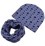 Boomly Baby Niedlich Beanie Hüte + Loop Schals Set Winter Baumwoll Beanie Mütze Halstuch Nackenwärmer Für 0-8 Jahre alte Kinder Winter Herbst (Blau #2)