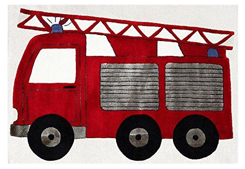 Kinderteppich Happy Rugs FEUERWEHRAUTO rot 120x180cm