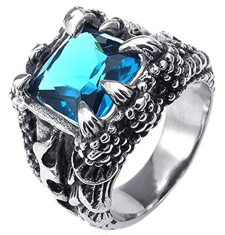 Aooaz Gravure Libre Anneau Pour Les Hommes Dragon Claw Bleu CZ 20 mm Taille 66.5 Promesse De Mariage