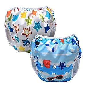 Luxja Riutilizzabile Pannolini da nuoto (Confezione da 2), Costume Pannolino Lavabili, Impermeabile Pannolino Piscina (0-3 anni), spiaggia + stelle colorate