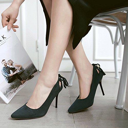 Mee Shoes Damen mit Quaste Stiletto Nubuck Pumps Dunkelgrün