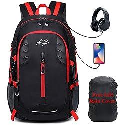 30L Sac à Dos Voyage et Randonnée,Léger Sac à Dos pour Sport Camping Trekking Hiking Backpack avec Chargement USB,Imperméable Sac à Dos avec Housse De Pluie,Noir
