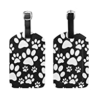 BENNIGIRY Black White Dog Tile Paw Print Luggage Tags Travel Labels Tag Name Card Holder for Baggage Suitcase Bag Backpacks, 1 PCS