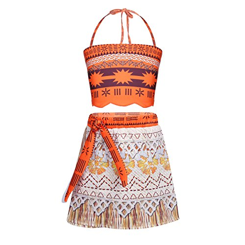 TiaoBug Kids Girls Moana Dress Costume Swimsuit Summer Adventure Outfit Bathing Suit Cosplay Party Dress Up