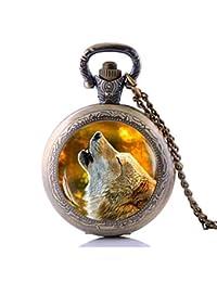 Howling Wolf - Collar de reloj de bolsillo con cadena de reloj de cuarzo 57184b8764d2