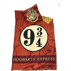 HARRYPOTTER Juego de ropa de cama–funda de edredón Reversible 140x 200cm + funda de almohada de 63x 63cm, microfibra–Oeko-Tex–Harry Potter–Hogwarts Express 93/4