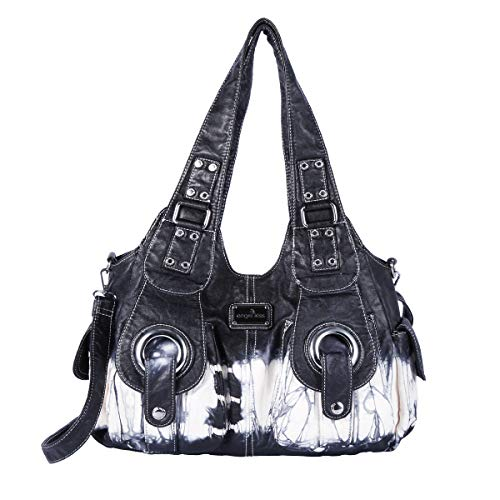 angel kiss Damen Handtasche Lässige Schultertasche Umhängetaschen Hobo Taschen Henkeltaschen Leder für Arbeit Schule Shopper (XS160191Z-Schwarz) (Hobo Taschen Schwarz)