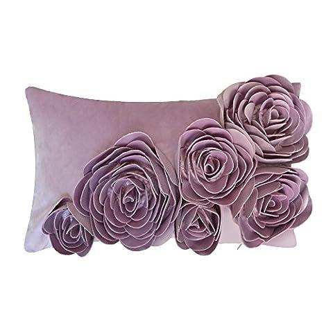JWH 3D Blumen Samt handgefertigt Rose Kissen Hochzeit Home Kissenbezug Sofa Auto dekorative werfen Accent Kissenbezüge pillowslip 30,5x 50,8cm, violett, 12x20 Inch