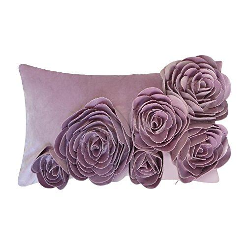 JWH Blumen Rose 3D Kissenbezug In 100% Velvet Pattern Sechs Blumen Handgefertigte Stereo Kissenbezug Dekorative Kissen Für Stuhl Schlafsofa Schlafzimmer 30x50 CM Violett