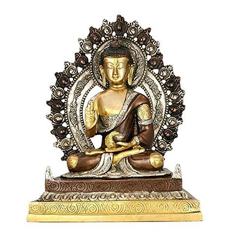 craftvatika Bénédiction sanctuaire Bouddha Statue religieuse–Anglais bronze 29,2cm Grand Tibet
