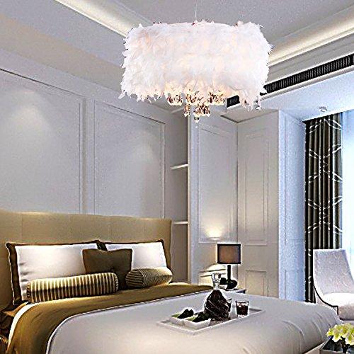 Preisvergleich Produktbild OOFAY LIGHT® Zeitgenössische üppigen White Feather-Kronleuchter mit 3 Lampen Crystal Drop ausgewählte Anhänger Lampe für das Wohnzimmer-Esszimmer-Schlafzimmer