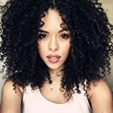 LaaVoo 14 Pouces Clip in 7A Extensions de Cheveux Pour les Femmes Noires #1B Noir Naturel Afro Curly Extensions de Cheveux Réels de Tête Pleine Clip in Cheveux Humains 7 Pieces 100 Grammes