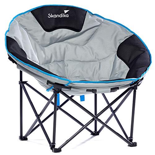skandika Moonchair Deluxe L/XXL Campingsessel Faltstuhl bis 120/150 kg belastbar, mit Tragetasche (L)