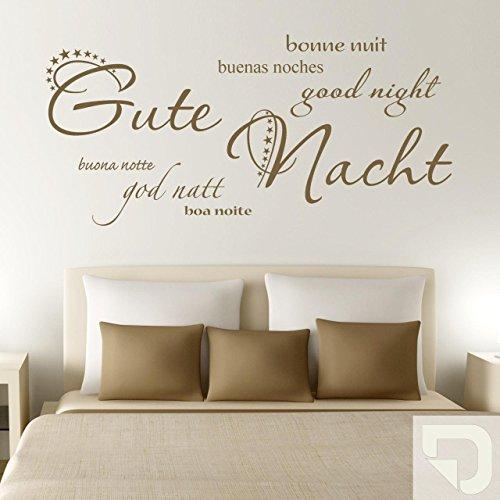 DESIGNSCAPE Wandtattoo Gute Nacht in 7 Sprachen: good night, bonne nuit, buenas noches, god natt, buona notte, boa noite 180 x 85 cm (Breite...