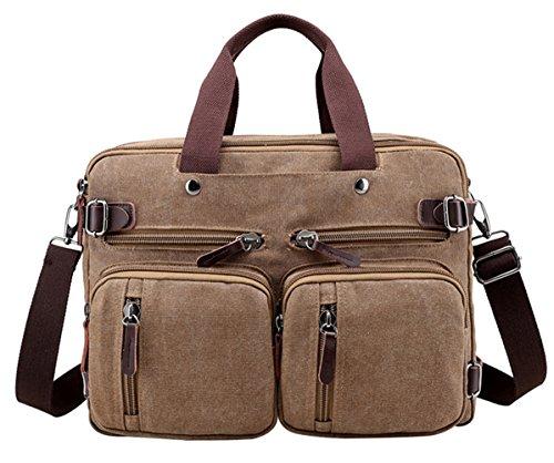 PB-SOAR 4-in-1 Herren Damen Vintage Canvas Multifunktionale Aktentasche Arbeitstasche Rucksack Umhängetasche Messenger Bag Laptoptasche Wickeltasche Vielseitige Tasche (Grau) Braun