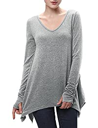 ShiFan Mujeres Sólido Cuello EN V Camiseta Manga Larga Dobladillo Irregular Blusa Casual Tops