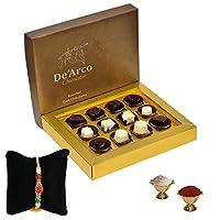 De'Arco Chocolatier Premium Luxurious Rakhi Gift Chocolate Box, Dark Chocolate Rakhi Gift Hamper, 12pcs + Free 2 Rakhi + Free Roli Chawal
