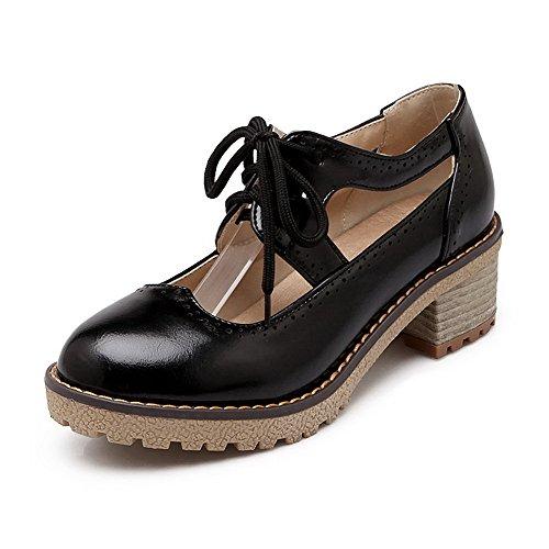 AgooLar Femme Matière Souple Lacet Rond à Talon Correct Couleur Unie Chaussures Légeres Noir