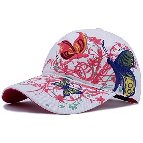Berretto da Baseball delle signore/Cappello di estate coreano/Ricamo farfalla (Signore Blu Visor)