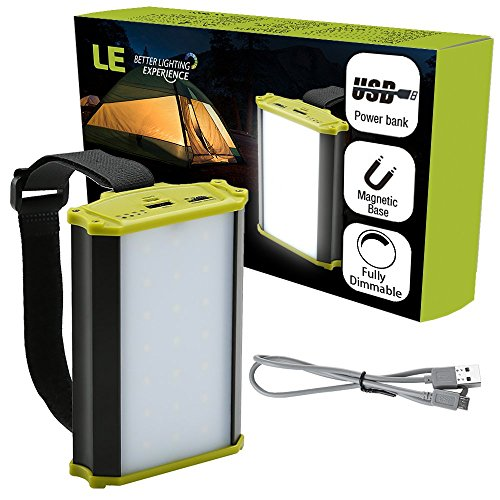 LE Luz de Camping LED USB, Función de Powerbank 4400mAh, 330 lúmenes Totalmente Regulable, con Imánes