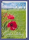Riesen 60 Geburtstag Karte Grußkarte Mohn Blumen Glückwunsch A4