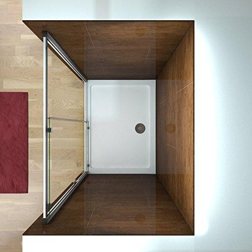 100 x 185 cm Nischentür Duschtür Schiebetür Duschabtrennung Duschwand aus 6mm ESG Sicherheitsglas Klarglas ohne Duschtasse - 4