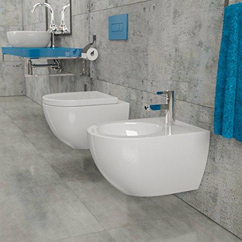 Design Wand-Hänge-WC Toilettenschüssel Tiefspüler inkl. WC Sitz aus Duroplast mit Metallscharnieren Absenkautomatik Spülrandlos Rimfree Nanobeschichtung Randlos KB-DE6ZPW - 6