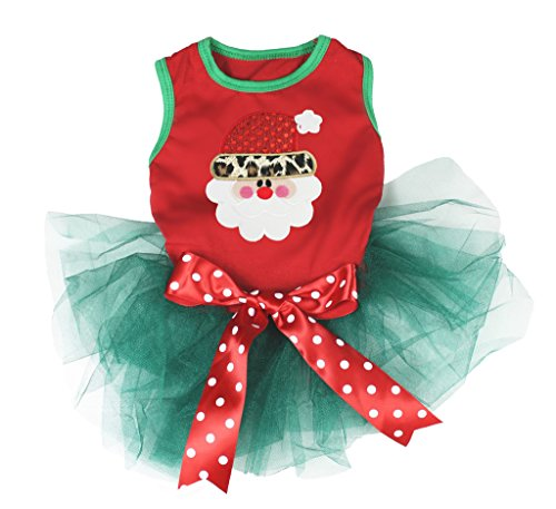 Pet Supply Christmas Leopard Santa Claus Red Teal Green Dog Dress Polka Dots Bow ()