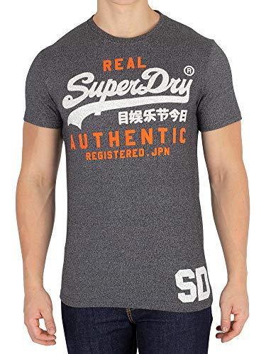 Superdry Herren Pullunder Vintage Authentic Duo Tee, Schwarz (Black Grit Nkm), XX-Large (Herstellergröße: 2XL)