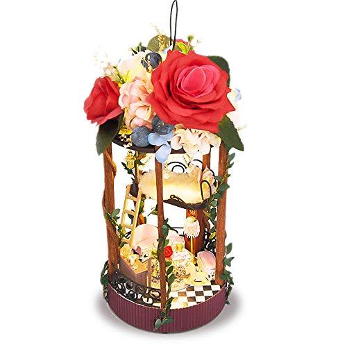 AHXMA Maison De Poupée Miniature DIY Maison De Poupée avec Meubles en Bois Maison De Noël Maison Jouets pour Enfants Cadeau d'anniversaire