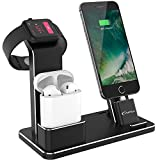 Yofew supporto per Apple Watch Nightstand Mode aluminum 4 in 1 Apple Watch dock ricarica del supporto Airpods accessori per iWatch Airpods/Series 2/1/iPhone 7/7 Plus/6s/6s Plus/iPad
