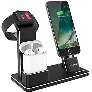 Yofew support pour Apple montre Table de nuit en aluminium Apple Watch Docks support Airpods