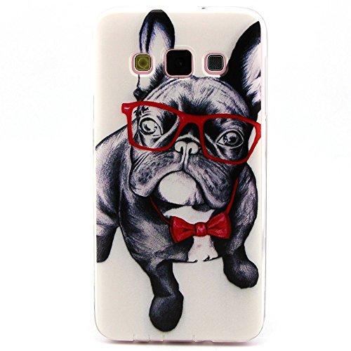 [A4E] Handyhülle passend für Samsung Galaxy A5 (SM-A500F) Case aus TPU Silikon, Hund mit Brille und Fliege Motiv (schwarz, weiß, rot)