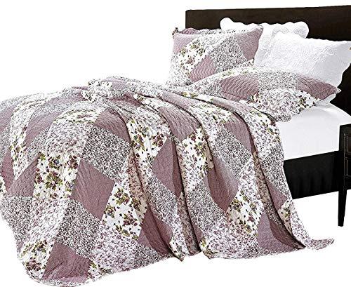 Parure de lit de luxe vintage (3 pièces) - Couvre-lit et 2 taies d'oreiller avec impression florale, matelassés et brodés, Microfibre, Orchid ( 361-10), Super King ( 250 x 270 CM)