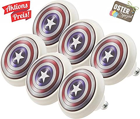 Furniture Knobs Assorted Set 0020 Kids Captain America 6 pcs Ceramic Vintage Style Ceramic Cupboard Decor Door Knobs Kitchen Cabinet Drawer Pulls Handles for Kids